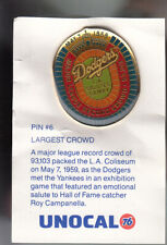 VINTAGE L.A. DODGERS UNOCAL PIN (UNUSED) - MLB MAJOR LEAGUE RECORD CROWD 93,103