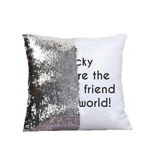 PERSONALISED Secret Message Silver & White Sequin Cushion Cover: Add a message