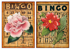 Floral Bingo #2 - Set of TWO 5x7 Flower Collage Fabric Blocks - BUY 2, GET 1