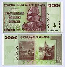 Zimbabwe 200 Million Dollars x 25pcs AA 2008 P81 1/4 bundle consecutive UNC