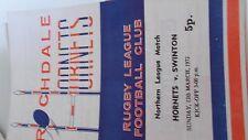 12.3.72 Rochdale Hornets v Swinton programme