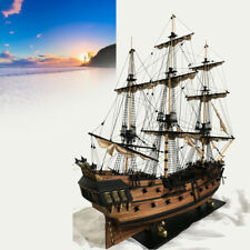 32'' Black Pearl Ship Assembly Model DIY Kits Wooden Sailing Boat Decor Toy Gift