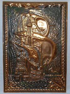 Sailing Ship Vtg Soviet Art Embossed Copper Metal Picture Sea Vessel Painting