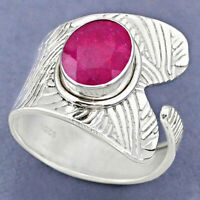925 Sterling Silver 4.05cts Natural Red Ruby Adjustable Ring Size 8.5 R63356
