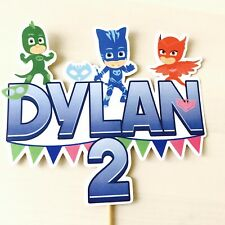 PJ Masks PERSONALISED Cake Topper.  Lolly Bag Party Supplies Deco Cake Custom
