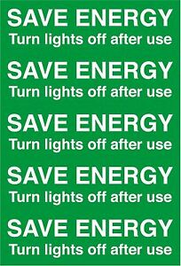 5 x Save Energy Turn Off Lights Light Switch Stickers Decals 7cm x 2cm