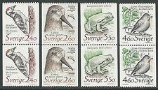 Sweden 1989 Birds   Animal Coil PAIRS Scott #1725-1728 VF-NH