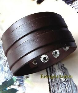 Men's Motorcycle Rider Surfer Fashion Characters Hip Leather Bracelet Wristband