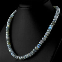 276.40 Cts Natural Blue Flash Labradorite Untreated Round Beads Necklace - Rare