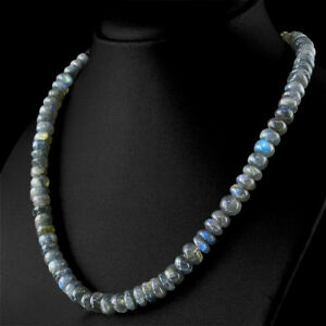 276.40 Cts Natural Blue Flash Labradorite Untreated Round Beads Necklace - (DG)