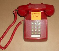 c1985 Vintage Red Cortelco 2500 Push-Button Telephone