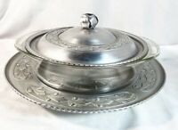 3 Pc Vintage Rare Pyrex Dish w hammered Rose Bud Aluminum Cover & Serving Tray