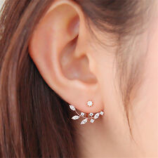 1 Pair Fashion Korean Lady Crystal Leaf  Rose Gold Stud  Earrings Jewelry BCCX23