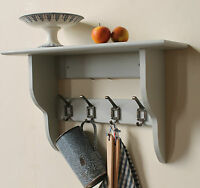 Hallway,bathroom or kitchen shelf with coat hooks