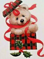 Morehead TEDDY BEAR CHRISTMAS Greeting Card Unused Vintage Present Gift Ribbon