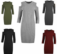 Womens Ladies Rib Knitted Cold Cut Out Shoulder Long Sleeve Bodycon Mini Dress