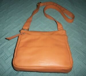Vintage Fossil Crossbody Handbag Purse Brown Pebbled Leather