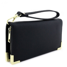 Womens Saffiano Leather Wallet Wristlet Phone Case With Gold Hardware Black New