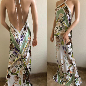 Roberto Cavalli Silk Logo Print Halter Maxi Dress IT40 US4