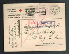 1940 Antwerp Belgium Red Cross cover to Prisoner of War POW Stalag 1H Germany