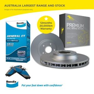 Front Bendix Brake Pads and Rotors Set for Volvo V50 2.4i 16in 17in wheels 04 -