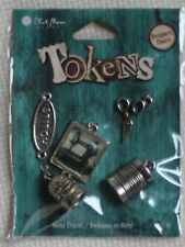 Blue Moon Tokens Metal Charms Pkg of 6 - Antique Silver Sewing New