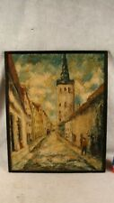 Antique Large Signed Impressionist Cityscape Oil Painting W/ Figures