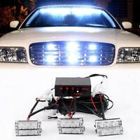 12V Car 6 White LED Flashing Grill Strobe Lights Bar Warning Recovery Breakdown
