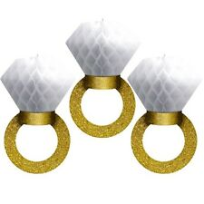 WEDDING AND ENGAGEMENT HONEYCOMB RINGS (3) ~ Party Supplies Hanging Decorations