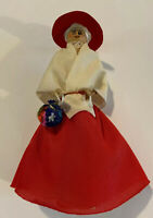 """Vintage Clothes Pin Handmade Doll- Red Dress With Matching Hat. 5""""tall"""
