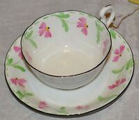 FINE BONE CHINA MADE IN ENGLAND TEACUP AND SAUCER PINK FLOWERS