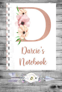 Personalised Notebook Notepad Notebooks Note Pad Book Gift A5 Initial - 114