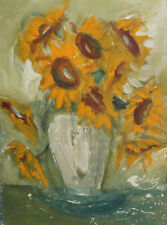 1991 IMPRESSIONIST OIL PAINTING STILL LIFE WITH SUNFLOWERS SIGNED