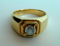 Men's 1.20 Ct Solitaire Round Cut Diamond Engagement Ring Real 14K Yellow Gold