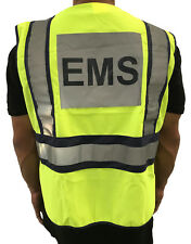 EMS Safety Vest - High visibility ANSI Polyester Fabric Public Vests - Yellow