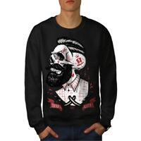 Wellcoda Skull Hippie Beard Mens Sweatshirt, Movement Casual Pullover Jumper