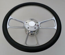 "BLACK CARBON FIBER Half Wrap 14"" BILLET Steering wheel kit +adaptor +Horn Button"