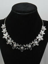 Kate Spade Rhodium Plated Black Multi BED OF ROSES Flower Statement Necklace
