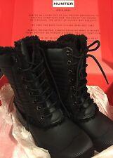Hunter Original Genuine Shearling Patent Pac Laceup Rain Boots Women's 9