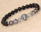 1pc Men Fashion Black Lava Stone Silver Lion Beaded Cuff Charm Bangle Bracelet
