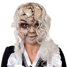 CRACKED PORCELAIN DOLL MASK WITH HAIR HALLOWEEN FANCY DRESS COSTUME ACCESSORY
