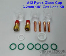 """17 pcs TIG Welding Stubby Gas Lens #12 Pyrex Cup Kit  for Tig WP-17/18/26 1/8"""""""