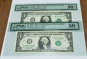Lot of (2) 1995 $1.00 WEB NOTES PMG About Uncirculated 50 EPQ (FP 3 & 4 BP 9)