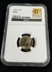 1996 W Roosevelt Dime 10c MS67 NGC- #21 of 100 Greatest US Modern Coins 1st Ed.