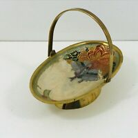 Brass Bowl Basket Cloisonne With Handle Christmas Bells and Holly Pattern