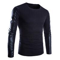 New Fashion Men's Round Neck Long Sleeve Knit Stitching T-shirt PU leather Cool