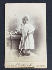 Victorian Cabinet Card: Burton Leicester: Girl Stuffed Kitten Taxidermy Tennis