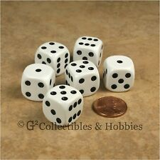 NEW Set of 6 White ROUNDED EDGE Dice Six Sided RPG Bunco 16mm 5/8 inch D6