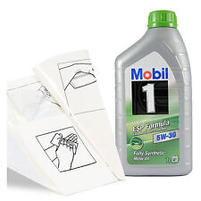 Engine Oil Top Up 1 LITRE Mobil 1 ESP 5W-30 Fully Synth 1L +Gloves,Wipes,Funnel