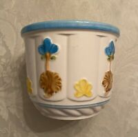 Vintage 1978 Hand Painted by Rubens Japan Planter Blue and White Floral EUC